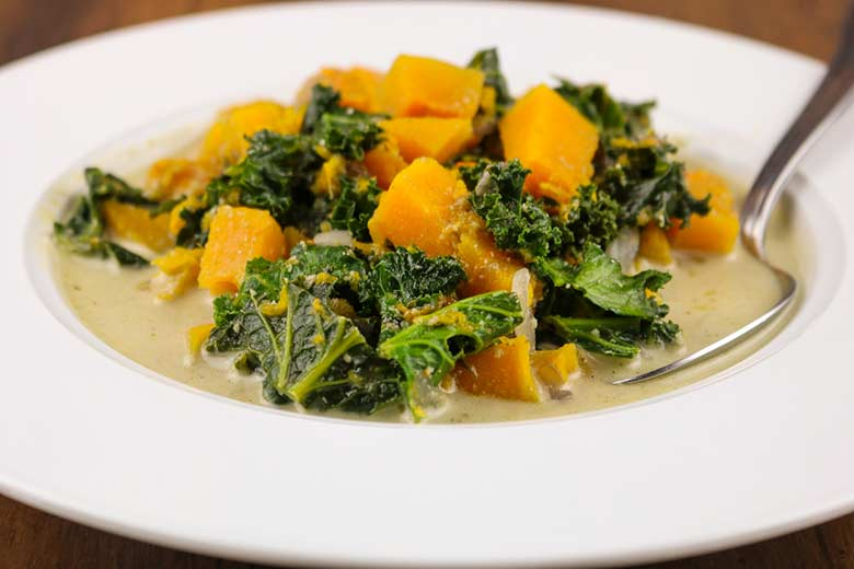 Squash and Kale with Coconut Curry