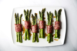 Turkey Bacon Wrapped Asparagus Bundles